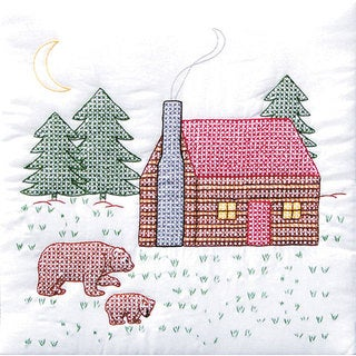 Stamped White Cabin and Bears Quilt Blocks (Set of 6)
