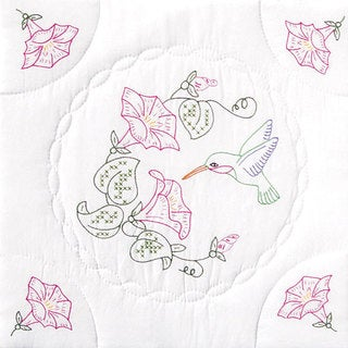 Hummingbird-Patterned Stamped White Quilt Blocks