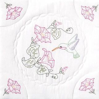 Hummingbird-Patterned Stamped White Quilt Blocks