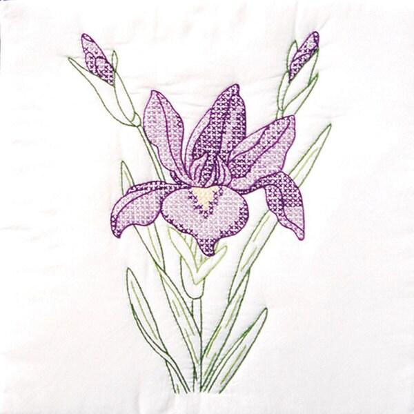 Iris-Patterned Stamped White Quilt Blocks