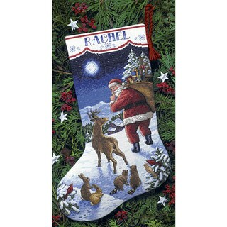 Dimensions Santa's Arrival Wool/Felt/Cotton Counted Cross Stitch Stocking Kit