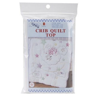 Charming Stamped White Cotton/Polyester Broadcloth Quilt Top for Crib