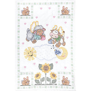 Heavenly Creatures Stamped Quilt Crib Top