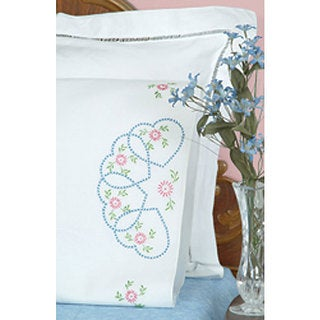 Starburst of Hearts Stamped Pillowcases (Set of 2)