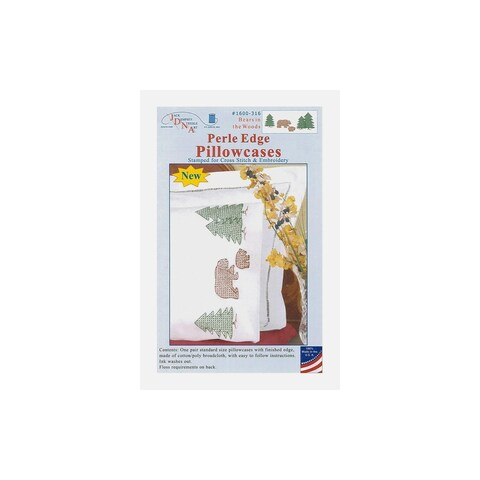 Bear and Trees Stamped Perle Pillowcases (Set of 2)