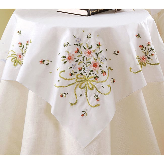 Bucilla Bridal Bouquet Table Topper Stamped Cross Stitch ...