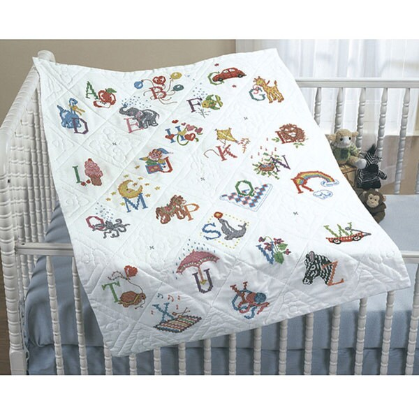 'Alphabet Dreams' Stamped Cross Stitch Quilt Top