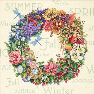 Wreath Of All Seasons Counted Cross Stitch Kit