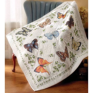 'Butterfly Collection' Stamped Lap Quilt Top