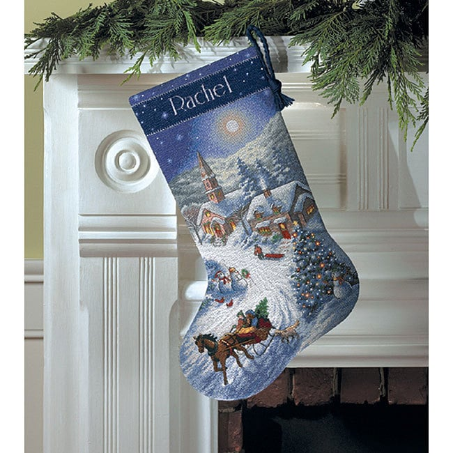 DIMENSIONS Sleigh Ride At Dusk' Stocking Counted Cross Ki...