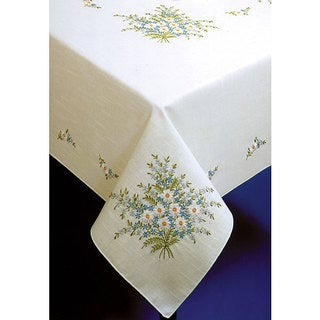Forget-me-not Stamped Oblong Tablecloth