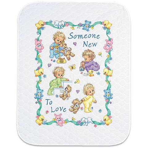 Baby Hugs 'Someone New' Quilt Stamped Cross Stitch Kit