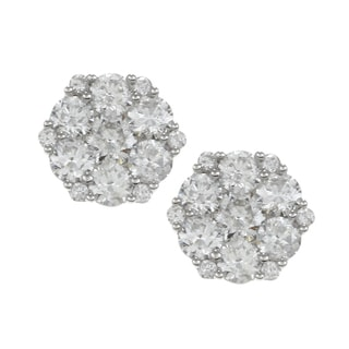 Eloquence 14k White Gold 2ct TDW Diamond Blossom Earrings (G-H, I1)
