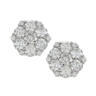 Eloquence 14k White Gold 2ct TDW Diamond Blossom Earrings