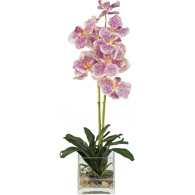 Shop Silk Vanda Orchid Arrangement With Glass Vase Free Shipping