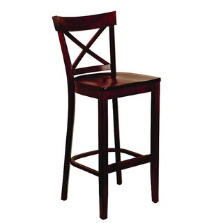 Dark Mahogany Wood Seat X-back Barstool