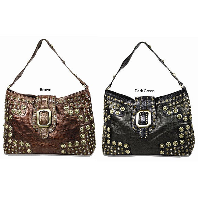B.E. Signature Studded Leatherette Shoulder Bag