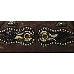 B.E. Signature Studded Snake Print Shoulder Bag