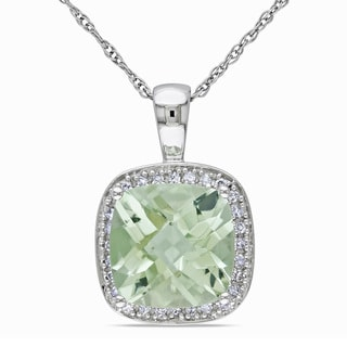 Miadora 10k Gold Green Amethyst and 1/10ct TDW Diamond Necklace (I-J, I1-I2)