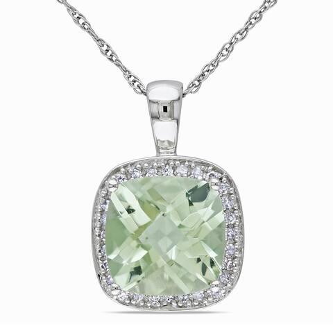 Miadora 10k Gold Green Amethyst and 1/10ct TDW Diamond Necklace (I-J, I1-I2)