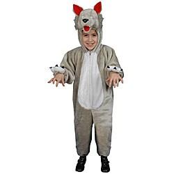 Plush Wolf Big Kids Costume - Grey