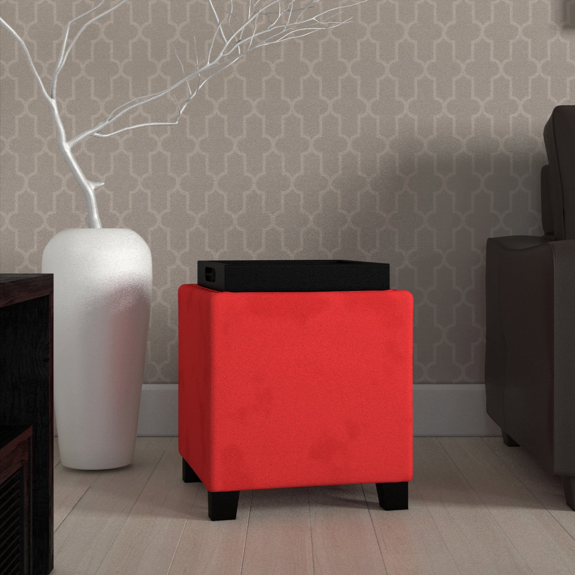 Heymarket Pinnacle Microfiber Storage Ottoman