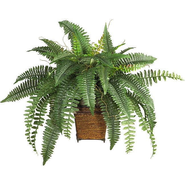 Nearly Natural Silk Boston Fern with Wood Wicker Basket