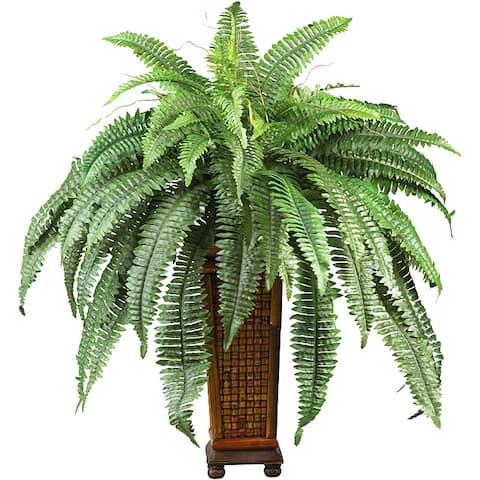 Silk Boston Fern Plant with Wood Vase