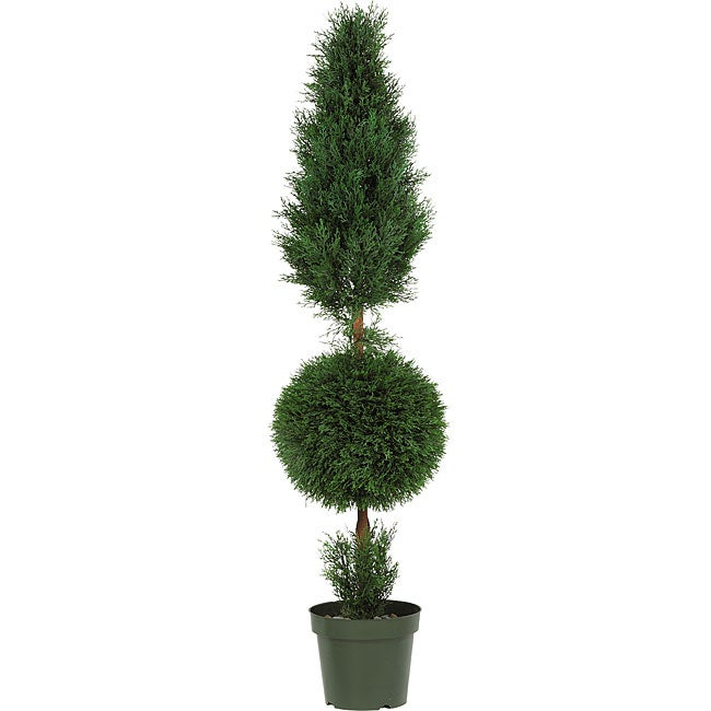 Indoor/ Outdoor Silk Cypress Ball and Cone Tree