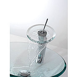 KRAUS Glass Vessel Sink with Waterfall Faucet in Satin Nickel - Thumbnail 1
