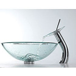 KRAUS Glass Vessel Sink with Waterfall Faucet in Satin Nickel - Thumbnail 2