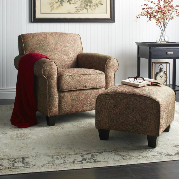 Portfolio Mira 8-way Hand-tied Paisley Arm Chair and Ottoman - Free ...