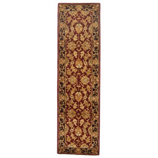 Safavieh Handmade Heritage Traditional Kashan Burgundy/ Black Wool Runner (2'3 x 14')