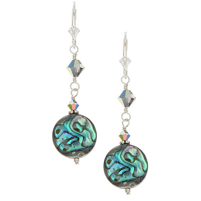 Lola's Jewelry Sterling Silver Paua Abalone Shell Round Earrings