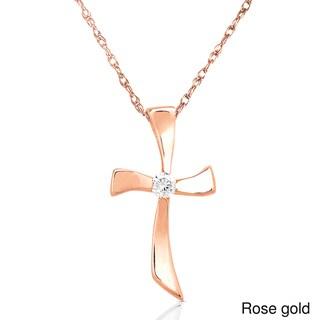 Annello by Kobelli 14k Gold Diamond Cross Necklace (G-H, I1-I2)