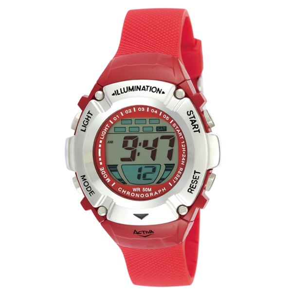 Activa by Invicta Unisex Midsize Red Digital Watch
