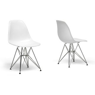 Thumbnail 1, Ronnie Wire Base White Chairs (Set of 2).