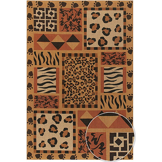 Artist's Loom Hand-woven Transitional Animal Print Natural Eco-friendly Jute Rug - 7'9x10'6