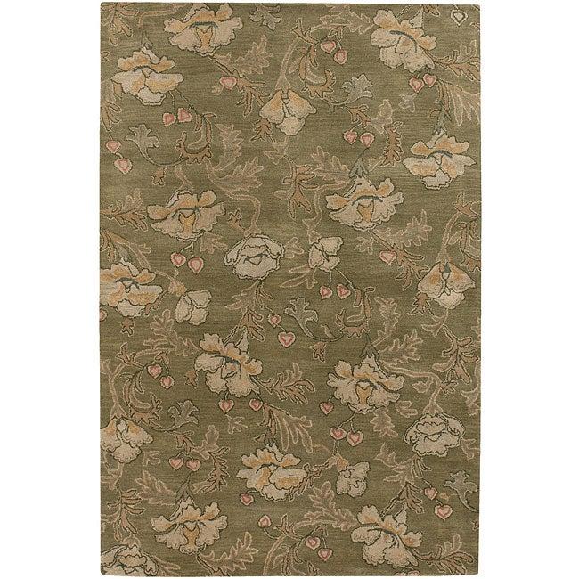 """Hand-Tufted Mandara Green New Zealand Wool Area Rug (5' x 7'6"""")"""