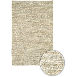 Artist's Loom Hand-woven Casual Reversible Natural Eco-friendly Leather Rug (2'6x7'6)