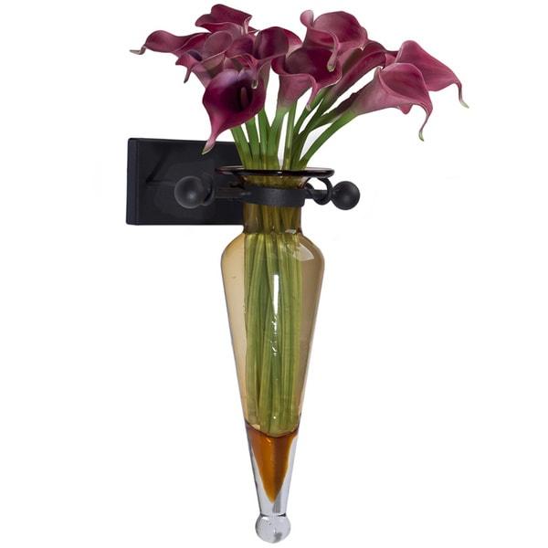 Amber Amphora Vase with Iron Sconce