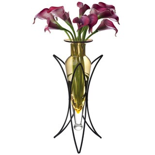 Amber Amphora Vase on Half Moon Metal Stand