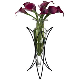 Clear Amphora Vase with Half Moon Metal Stand