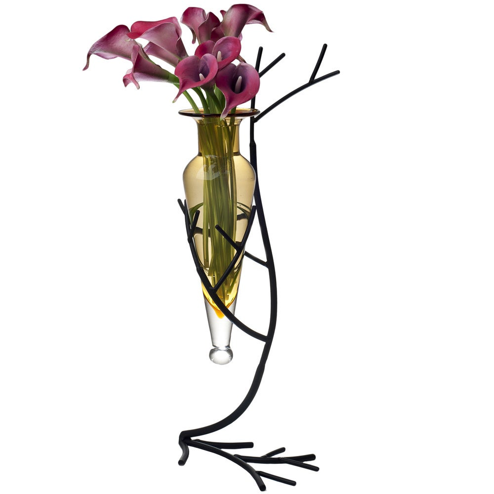Amber Glass Vase on Twig Metal Stand, Black