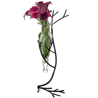 Clear Glass Vase on Twig Metal Stand