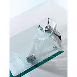 KRAUS Square Glass Vessel Sink in Clear with Waterfall Faucet in Oil Rubbed Bronze
