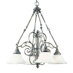 Antique Pewter 4-light Frosted Glass Chandelier