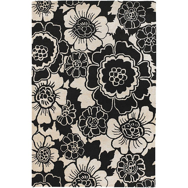 Artist's Loom Hand-tufted Transitional Floral Wool Rug - 7'9 x 10'6