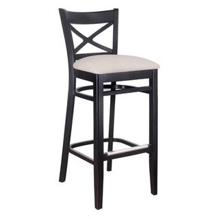 Copper Grove Barna Solid Wood X-back Microfiber Seat Bar Stool