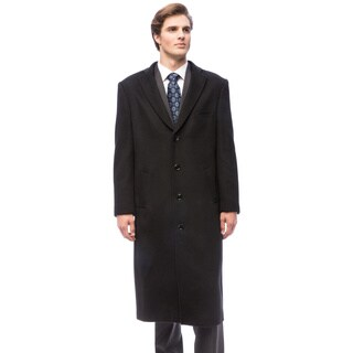 Red Label Wool and Cashmere Black Overcoat (Option: 52r)